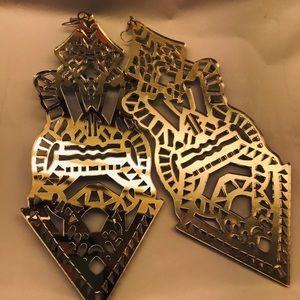 Long huge oversized tribal gold mirror earrings